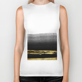 Black & Gold Stripes on White - Mix & Match with Simplicty of life Biker Tank