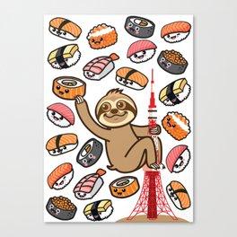 Sloth Sushi Tokyo Canvas Print