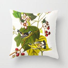 Black and Yellow Warbler Bird Throw Pillow