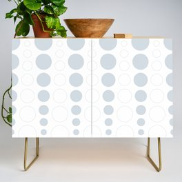 Up and down polka dot pattern in white and a pale icy gray Credenza