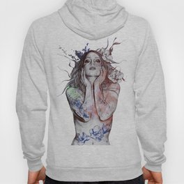 The Withering Spring: Wine (nude tattooed girl with flowers) Hoody