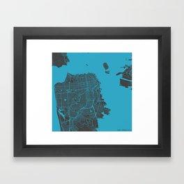 San Francisco map blue 70s Framed Art Print