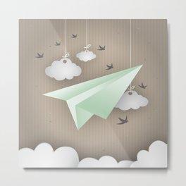 Green Paper Plane Metal Print