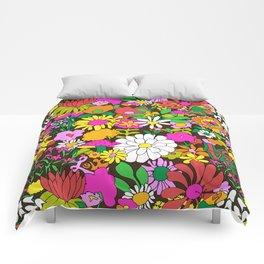 60's Groovy Garden in Chocolate Brown Comforters
