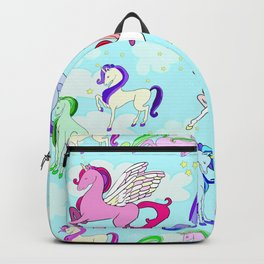 Unicorn repeating pattern colorful on blue Backpack