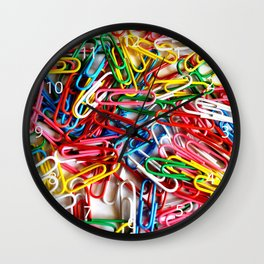 Colorful paper clips on white background. Wall Clock