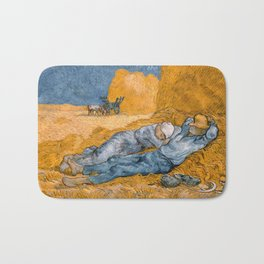 Noon - rest from work by Vincent van Gogh Bath Mat