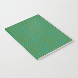 Doors & corners op art pattern in olive green and aqua blue Notebook