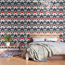 Black White and Red Geometric Abstract Wallpaper
