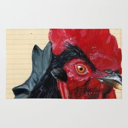 Rooster in Gouache Rug