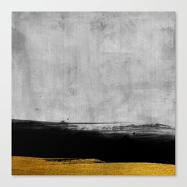 Black and Gold grunge stripes on modern grey concrete abstract backround I - Stripe - Striped Canvas Print