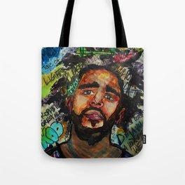 J cole,kod,album,music,rap,cole world,hiphop,rapper,masculine,cool,fan art,wall art,portrait,paint Tote Bag