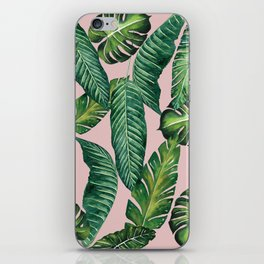 Jungle Leaves, Banana, Monstera II Pink #society6 iPhone Skin