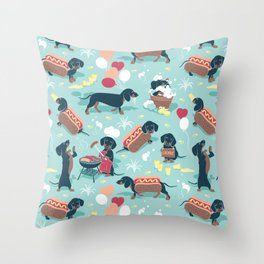 Hot dogs and lemonade // aqua background navy dachshunds Throw Pillow