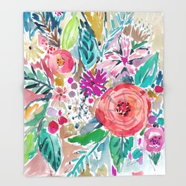 High by the Beach Painterly Floral Throw Blanket