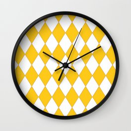 YELLOW & WHITE DIAMONDS GEOMETRIC PATTERN ART Wall Clock