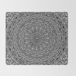 Zen Black and white Mandala Throw Blanket