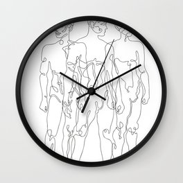 one line male figures Wall Clock