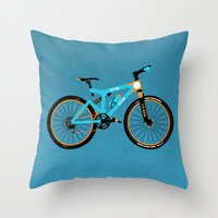 brompton Throw Pillows featuring Mountain Bike by Wyatt Design
