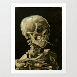 Vincent van Gogh - Skull of a Skeleton with Burning Cigarette Art Print
