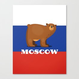 Moscow Bear and flag travel poster. Canvas Print