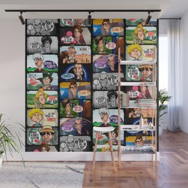 Faces of Who (Black) Wall Mural
