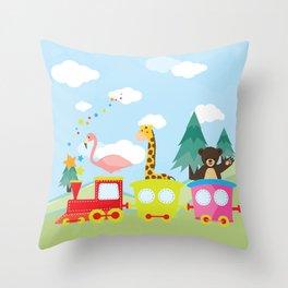 Animals Train , Nursery decor Throw Pillow