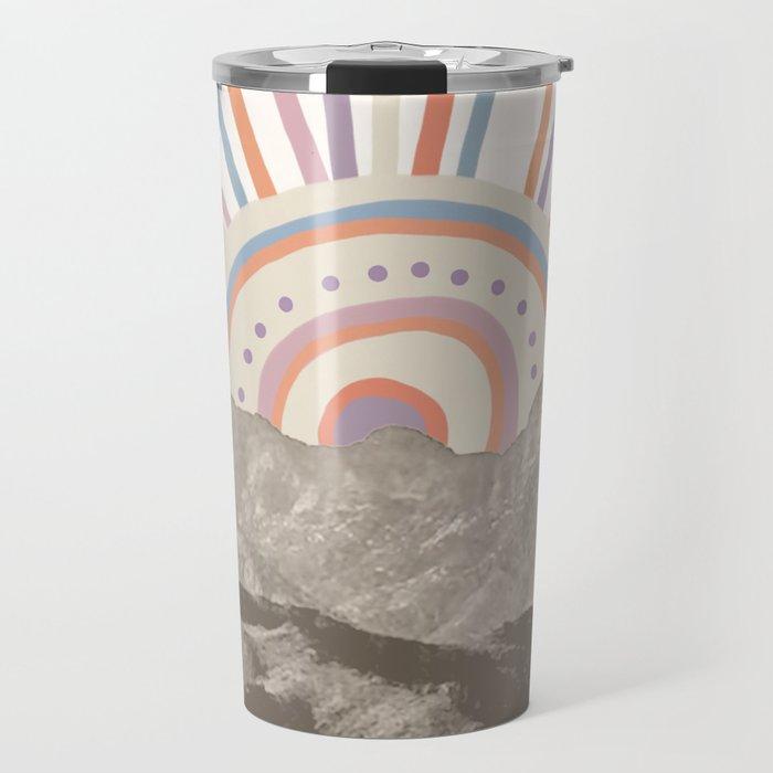 Summerlin Mountain Up // Abstract Vintage Mountains Summer Sun Surf Beach Vibe Drawing Happy Wall Ha Travel Mug
