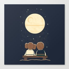 You and me and the moon Canvas Print