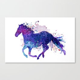 Running Horse Watercolor Silhouette Canvas Print