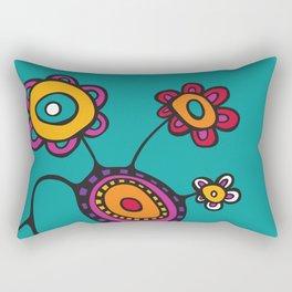 Flower Pot in Color on Teal Rectangular Pillow