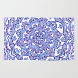 Lilac Spring Mandala - floral doodle pattern in purple & white Rug
