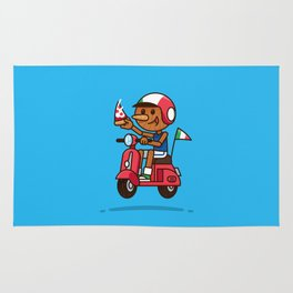 Italy! Pinocchio Eat Pizza and Ride Vespa Rug