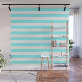 Stripes (Aqua & White Pattern) Wall Mural