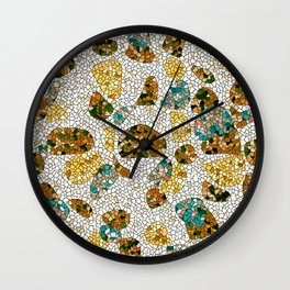 Gold, Copper, and Blue Mosaic Abstract Wall Clock