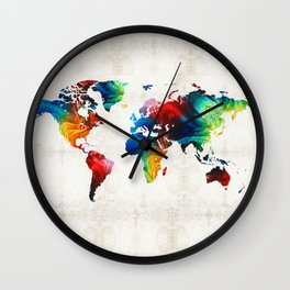 World Map 19 - Colorful Art By Sharon Cumming Wall Clock