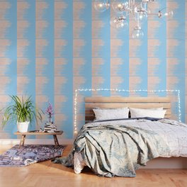 Carefree - Sweet Peach Coral Pink on Blue Raspberry Wallpaper