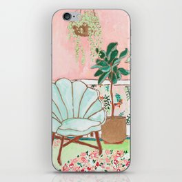 Art Deco Velvet Mint Shell Chair in Jungle Room with Tigers iPhone Skin