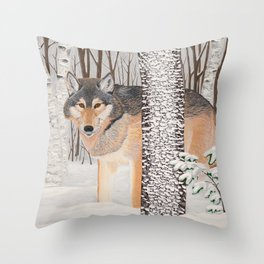 Lone Wolf Searching Throw Pillow