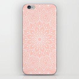 White Mandala Pattern on Rose Pink iPhone Skin