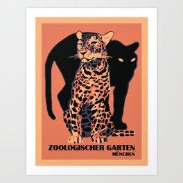 Retro vintage Munich Zoo big cats Kunstdrucke