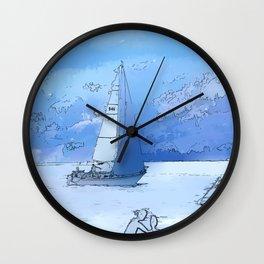 Sailing the Calm Blue Waters  - Sailboating Wall Clock