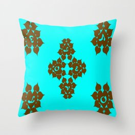 Hearts Brown/Teal Throw Pillow