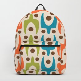 Mid Century Modern Abstract Pattern 441 Orange Chartreuse and Turquoise Backpack