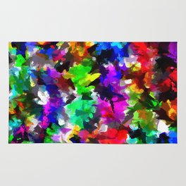 psychedelic splash painting abstract texture in pink blue green yellow red black Rug