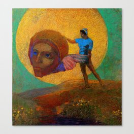 """Odilon Redon """"Figure Holding the Head of an Angel (also known as The Fall of Icarus)"""" Canvas Print"""