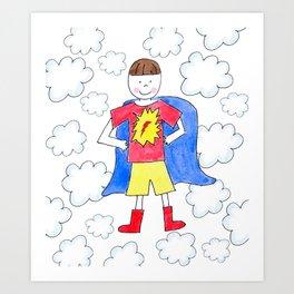 Super Hero Boy Brunette Art Print