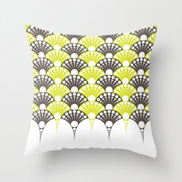 brown and lime art deco inspired fan pattern Throw Pillow