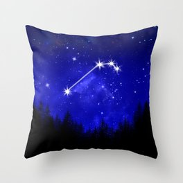 Aries Constellation Blue Forest Galaxy Throw Pillow