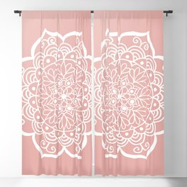 Pretty Mandala on Rose Gold Blackout Curtain